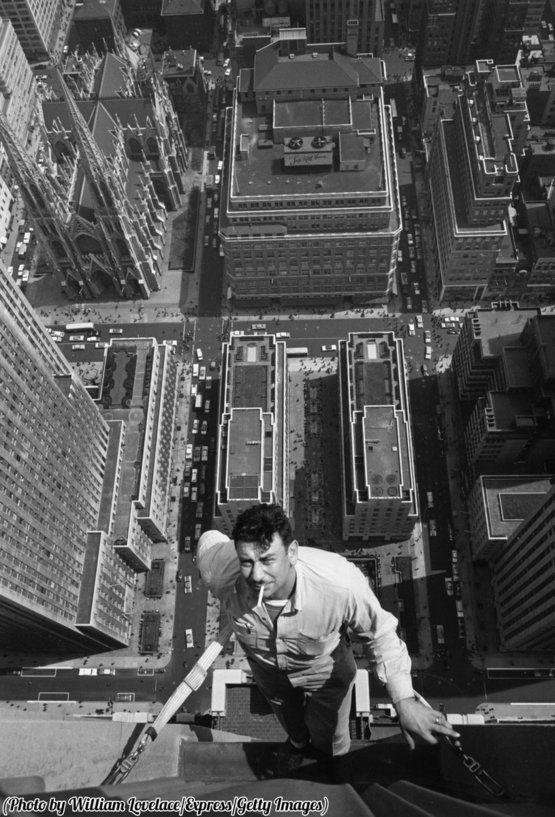 Window washer, New York, 1961.