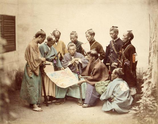 Samurai of the Chosyu clan, 1860s. Photograph by Felice Beato.