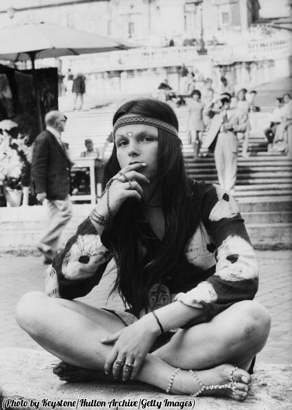 A young hippy sitting at the bottom of the Spanish Steps in Rome, 1970.