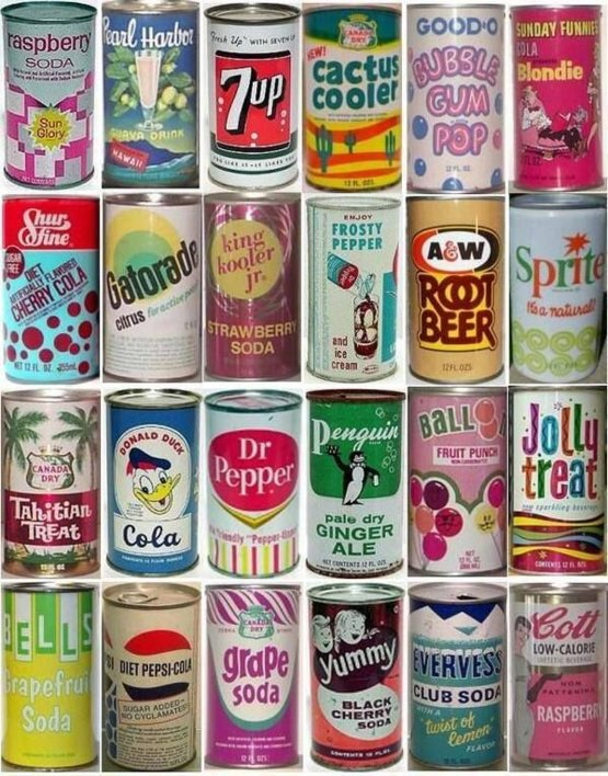 Vintage soda cans. Probably not good to drink!
