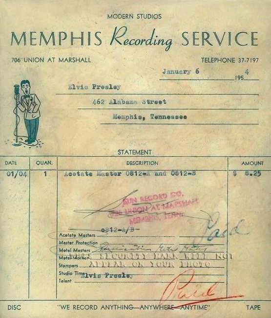 Receipt from Elvis Presley's second recording session for Sun Records, 1954.