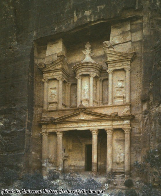 Petra, Jordan, rock-hewn capital of the Nabataeans in an early 20th century photograph.