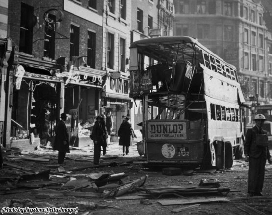 A scene in central London, the morning after a bomb raid, 1940.