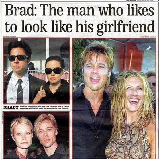 Why does Brad Pitt look like all of his girlfriends!