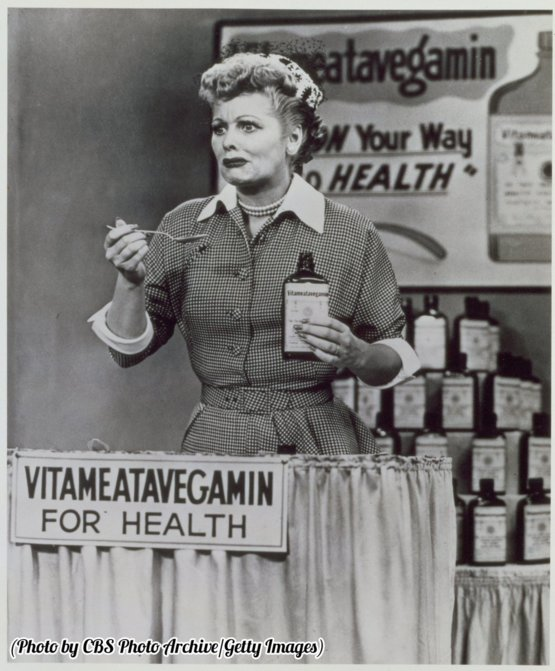 "Lucille Ball and ""Vitameatavegamin,"" 1952."