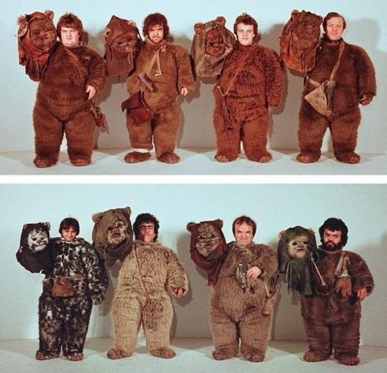 The actors underneath the Ewok masks for Return of the Jedi, circa 1982.