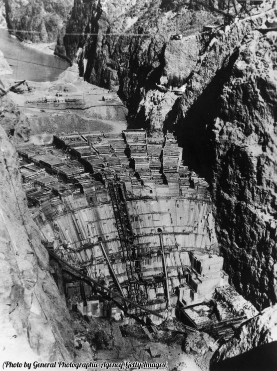 The Hoover Dam, then called the Boulder Dam, under construction, 1936.