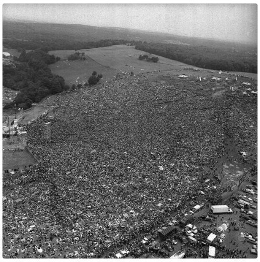 Aerial photo of Woodstock, 1969