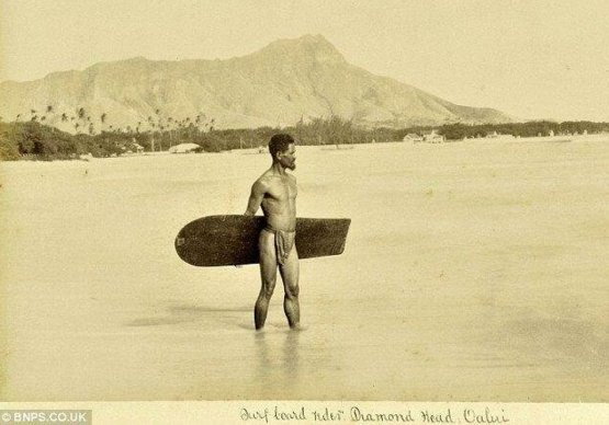Earliest known photo of a surfer. Hawaii, 1890.
