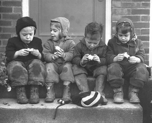 Children discussing their apples. Seattle, 1948.