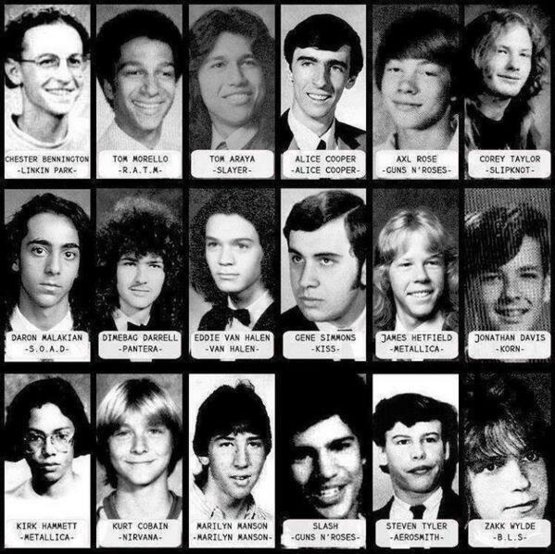 Yearbook photos of Rock and Heavy Metal icons.