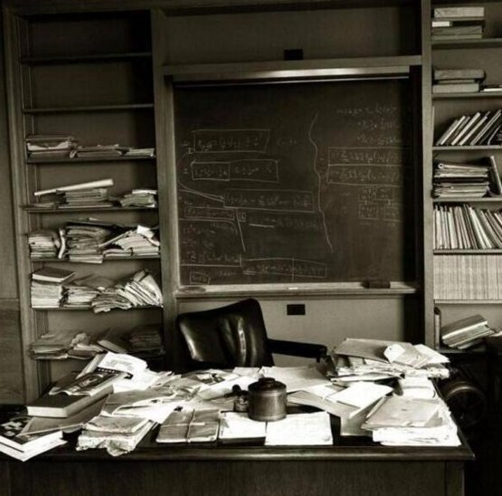 Einstein's office on the day he died, April 18th 1955.