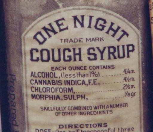 One Night Cough Syrup' with some remarkable ingredients, manufactured in Baltimore, 1888
