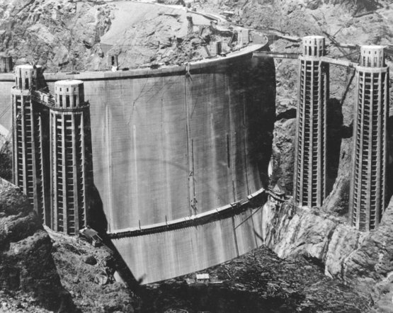 The rarely seen back of the Hoover Dam before it filled with water 1936.