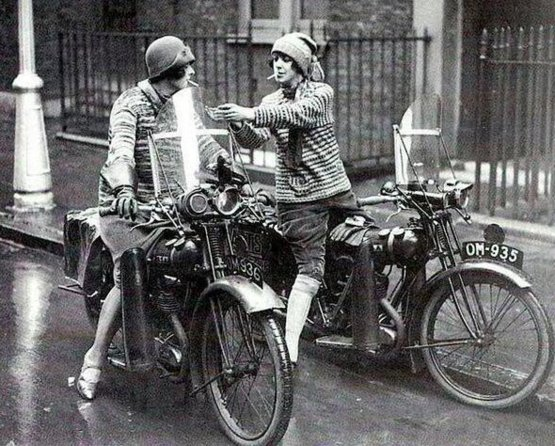 Women on motorcycles in Great Britain, 1930s.