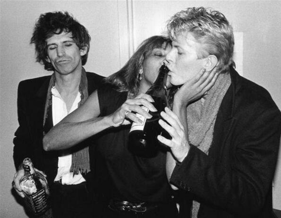 Keith Richards, Tina Turner & David Bowie partying in New York City, 1983.