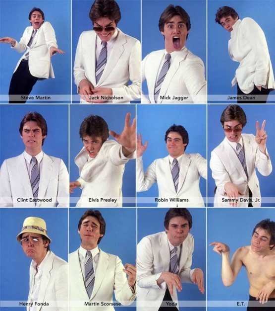 Jim Carrey impersonating celebrities, 1992.