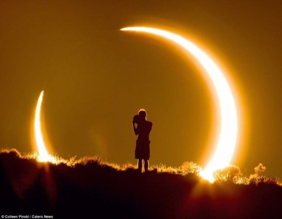 A real image of the Solar Eclipse shot by Coleen Pinski