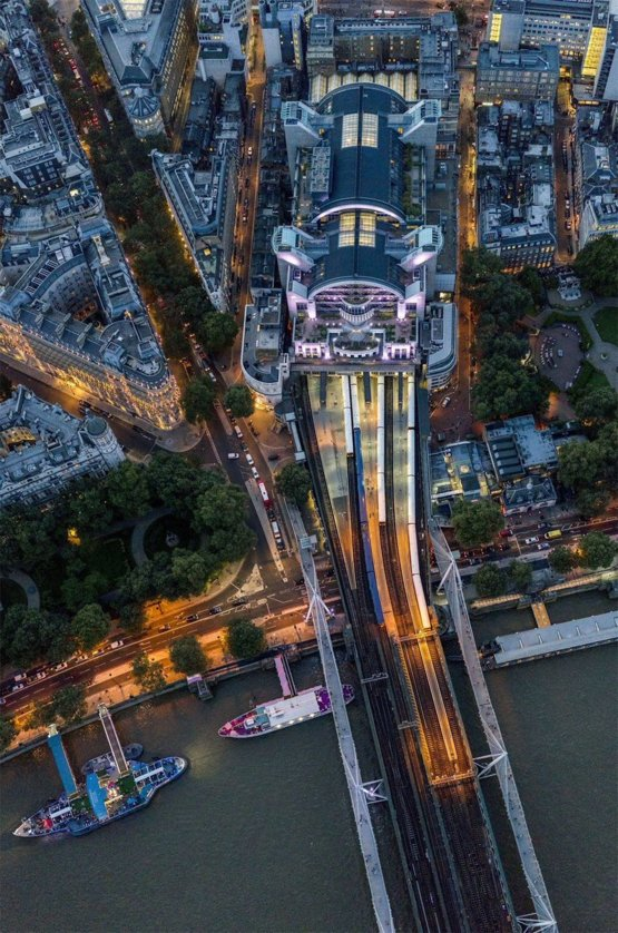 Charing Cross Station from above by photographer Jeffrey Milstein  via