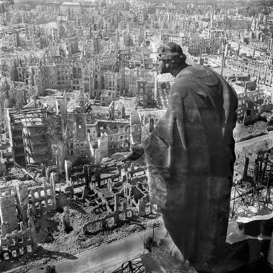 Dresden in ruins after Allied bombings, 1945.