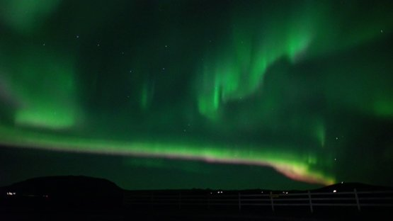 Aurora at Kerid crater on the golden circle