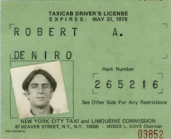 Robert De Niro's taxicab licence, used while preparing for his role in Taxi Driver, 1976