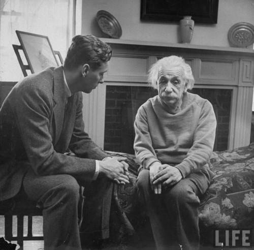 "Einstein and his therapist. ""Happiness in intelligent people is the rarest thing I know."""