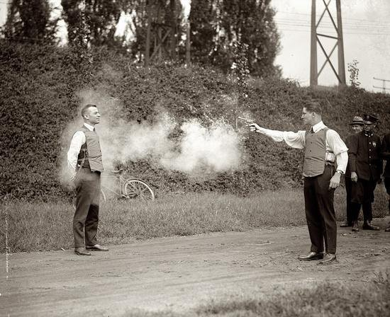 Testing new bullet-proof vests, 1923