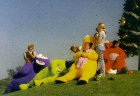 Lunch break on the set of Teletubbies