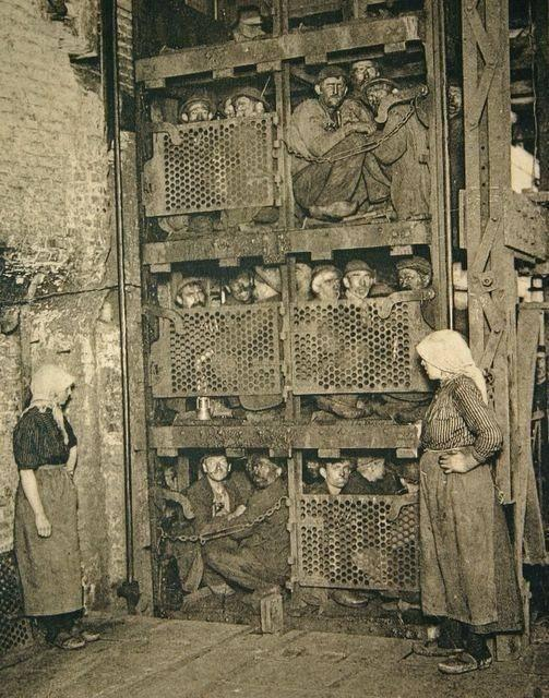 Crammed into a Bulgarian coal mine elevator, coming up after a day of work, 1900.