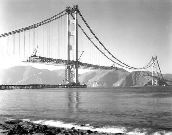 San Francisco, Golden Gate Bridge during construction. 1937.