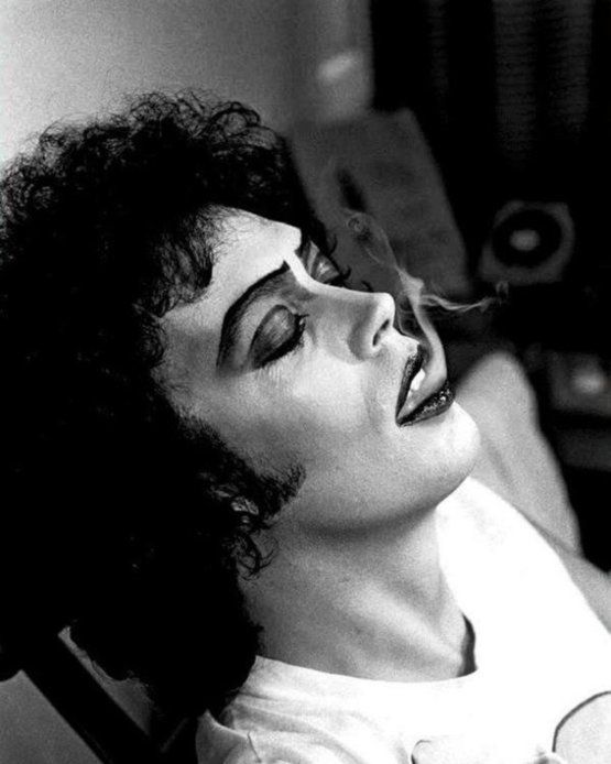 Tim Curry takes a break while filming 'The Rocky Horror Picture Show', 1974