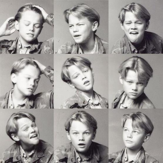 A young Leonardo DiCaprio showing off his emotional range