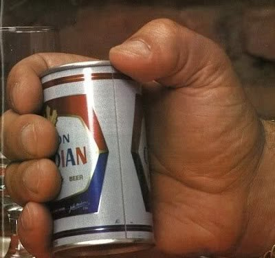 Andre the Giant's hand holding a beer 1970s.