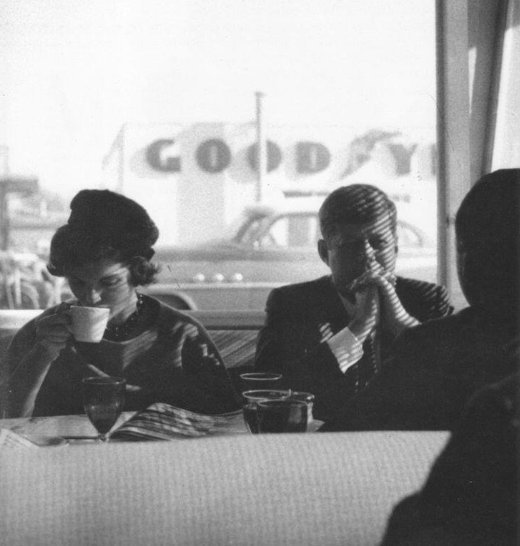 Fall 1959, JFK and Jackie in a diner, Oregon.