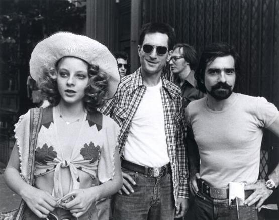 Jodie Foster, Robert de Niro and Martin Scorsese on the set of Taxi Driver, 1975