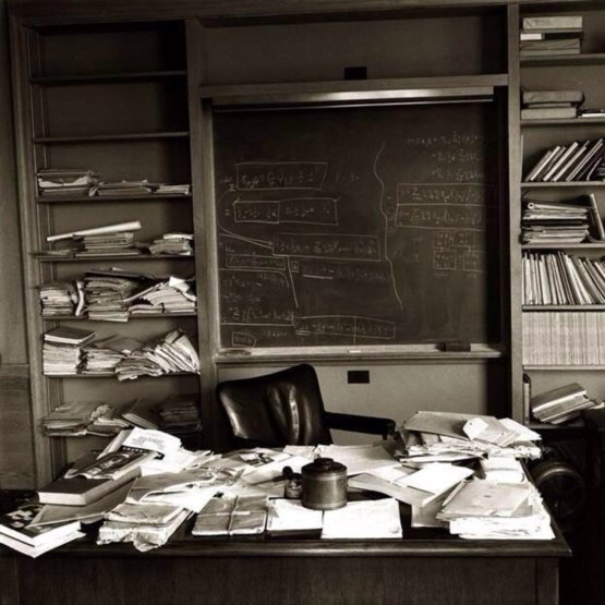 Einstein's desk a day after his death. Photography by Ralph Morse.
