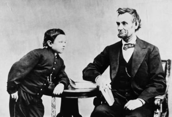 "Abraham Lincoln with his son Thomas, ""Tad"" Lincoln in 1865"