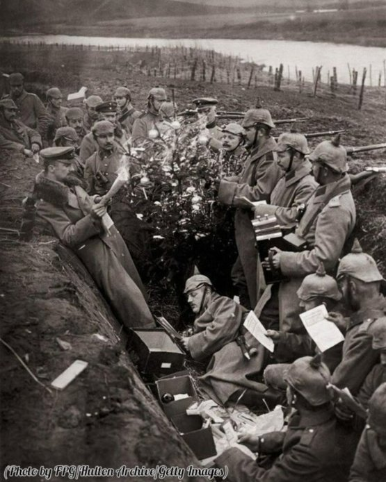 Christmas in the German trenches, WWI, circa 1915.
