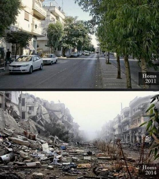 The same street in Homs, Syria, in 2011 and now.