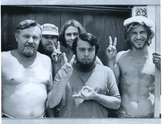 Harrison Ford (far right) when he was a carpenter building Sergio Mendes' recording studio, 1970.