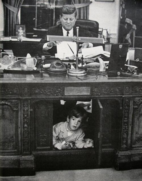 JFK & JFK, Jr. in the Oval Office.