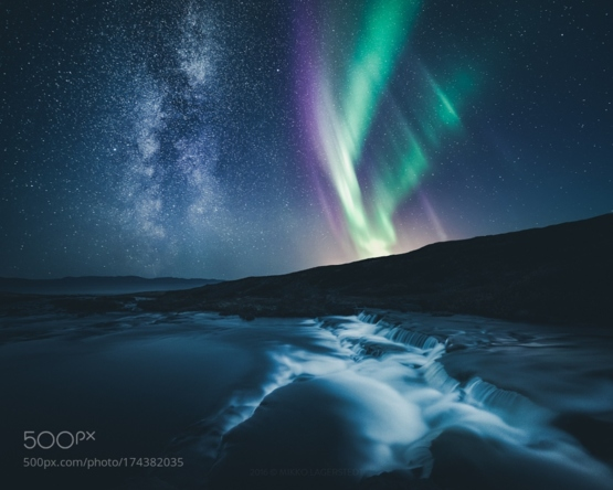 Milky Way and Aurora by
