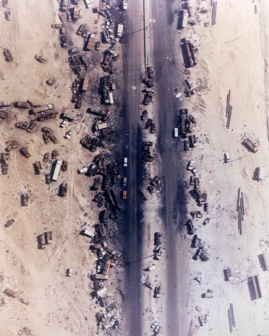 Highway of Death, the result of American forces bombing retreating Iraqi forces, 1991