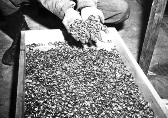 Wedding rings of Holocaust victims, near the Buchenwald concentration camp, 1945.