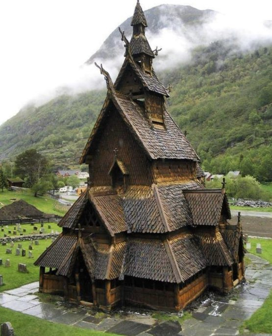 800-year-old Borgund Stave Church in Norway, built sometime between 1180 and 1250 AD.