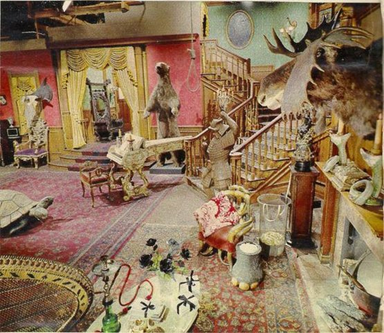 The original Addam's Family set photographed in color.