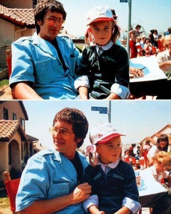 Steven Spielberg and Drew Barrymore at the set of E.T.