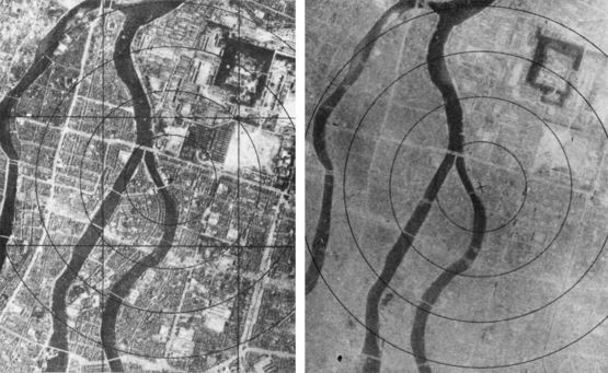 Hiroshima before and after the bombing, August 6, 1945.