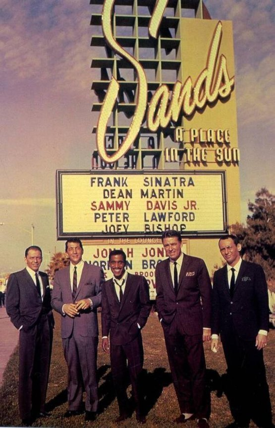 Rat Pack at The Sands in Las Vegas, circa 1960.